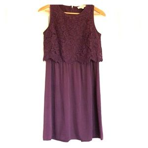 Plum Loft Lace Silk Dress